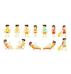 cartoon beach holidays people big set womans and vector image