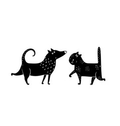 cat dog black and white vector image