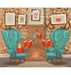 christmas cartoon interior vector image
