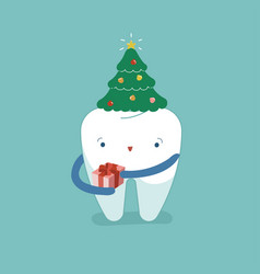 christmas trees hat on tooth christmas festival vector image