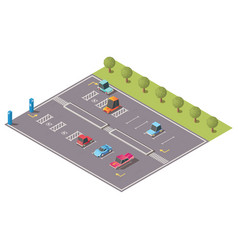 city parking with disabled spaces isometric vector image