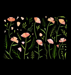 collection flowers pink and green isolated on vector image