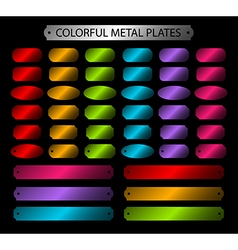 Colorful metal plates glossy vector image