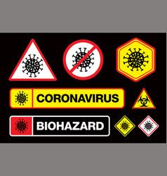 Covid-19 coronavirus sign with virus itself vector