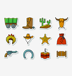 Cowboy and western icons set in line art vector