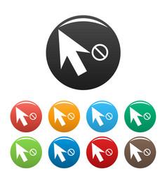 cursor stop icons set color vector image