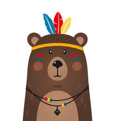 Cute bear have headdress with feathers on head vector