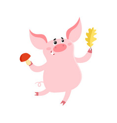 Cute pig with leaf and mushroom isolated on white vector