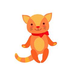 Cute soft kitten plush toy stuffed cartoon animal vector
