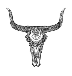 Decorative bull skull in tattoo tribal style Hand vector image
