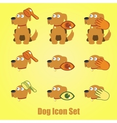 Dog icons set on a yellow background vector
