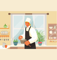 eating out restaurant kitchen man in uniform vector image
