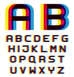 EPS10 distortion blur font alphabet letters vector image