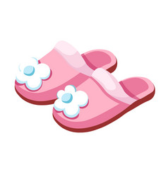 Female slippers home footwear isolated pair vector