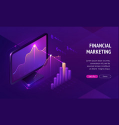 financial marketing isometric landing page banner vector image