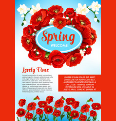 Floral poster for spring holiday greetings vector