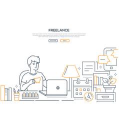 freelance - modern line design style web banner vector image