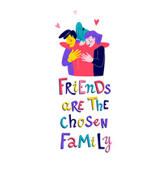 girl hugs friends flat print vector image