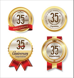 golden badge anniversary collection 35 years vector image
