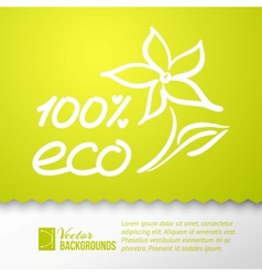Green background and eco 100 sticker vector image vector image