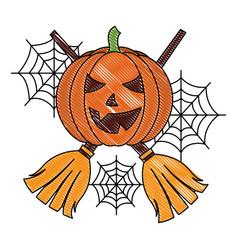 halloween pumpkin with two broom cobweb vector image