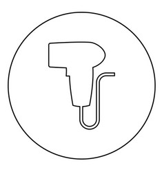 Hand scanner barcode held icon in circle round vector