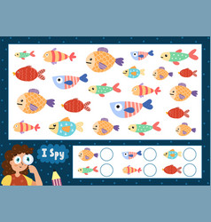 i spy game for kids find and count cute fish vector image