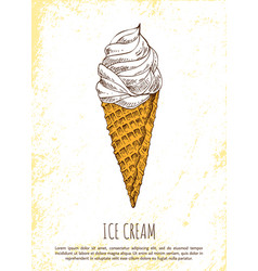 ice cream sweety delicious colorful poster vector image