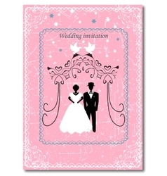 Invitation to the Huppah Pink invitation to a vector