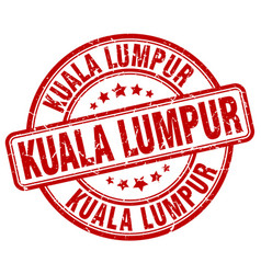 Kuala lumpur red grunge round vintage rubber stamp vector