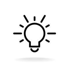 Lamp bulb flat icon with light rays Black outline vector image
