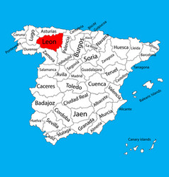 Leon map spain province administrative map vector
