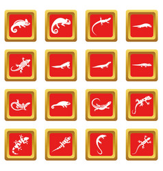 Lizard icons set red vector