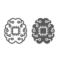 machine thinking line and glyph icon vector image
