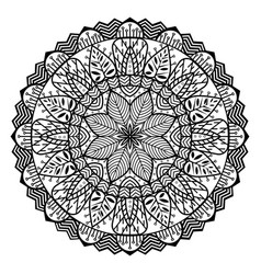 Mandala circle with floral elements sacred vector
