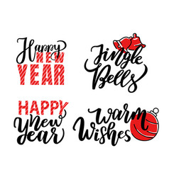 merry christmas print lettering isolated vector image