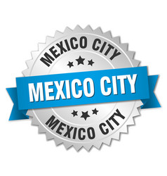 Mexico city round silver badge with blue ribbon vector