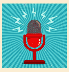 microphone on blue retro background vector image