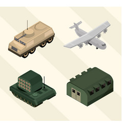 Military icons set with barracks airplane tank vector