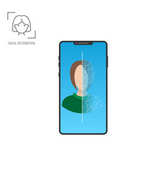 modern phone face scanner vector image