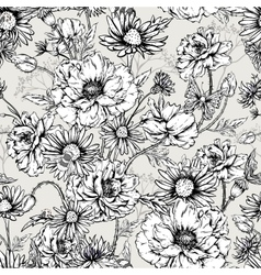 Monochrome Floral Seamless Pattern with Blooming vector image