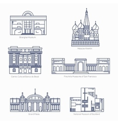 Monuments thin line icons Shanghai museum vector