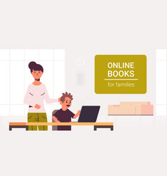 Mother and son using laptop reading online books vector