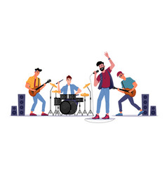 musical band at rock festival guitar mic drum vector image