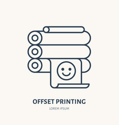 Offset printer with printed paper flat line icon vector
