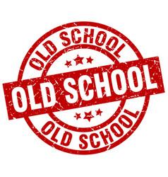 old school round red grunge stamp vector image