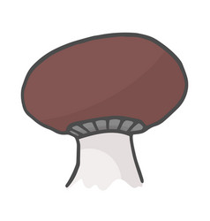 one monochrome boletus mushroom hand drawn color vector image