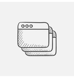 Opened browser windows sketch icon vector image