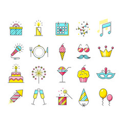 party icons celebration vector image