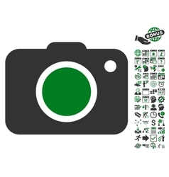 Photo Camera Icon With Bonus vector image